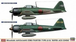 2 KITS - Aviao ZERO FIGHTER TYPE 21 E ZERO FIGHTER TYPE 52 HASEGAWA