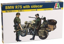German Motorcycle BMW R-75 with Sidecar and 3 Figures      0 - ITALERI