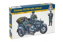 German Motorcycle Zundapp KS-750 with Sidecar and 3 Figures - ITALERI