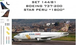 Set Decais Boeing 737-200 - Star Peru - 1800 - RBX DECAIS