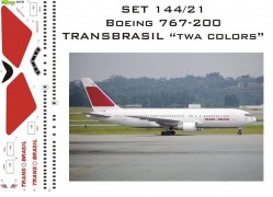 Set Decais Boeing 767-300 - Transbrasil - TWA Colors - RBX DECAIS