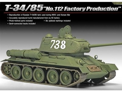 Tanque T-34/85 - No.112 Factory Production ACADEMY